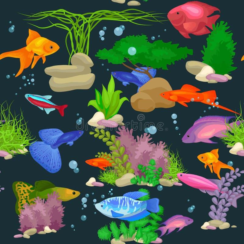 Рыбы аквариума, иллюстрация вектора картины морской водоросли подводная безшовная иллюстрация вектора