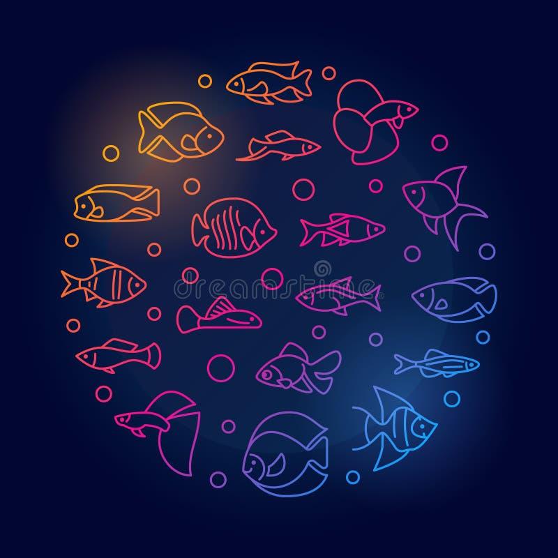 Рыбы аквариума vector вокруг покрашенной иллюстрации в линии стиле иллюстрация вектора