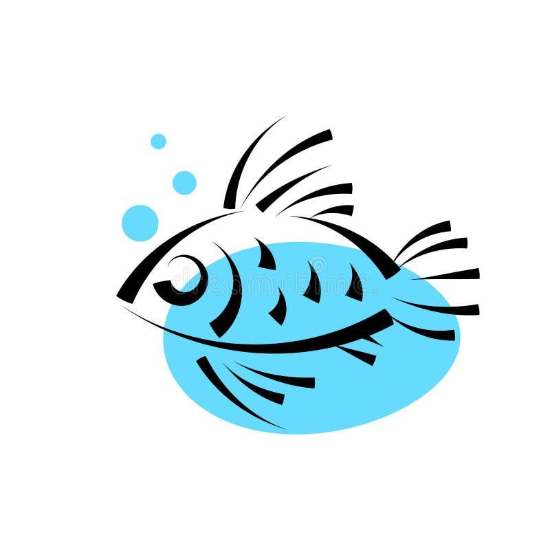 Рыбы в шаблоне вектора дизайна логотипа воды значок логотипа магазина магазина ресторана морепродуктов иллюстрация штока