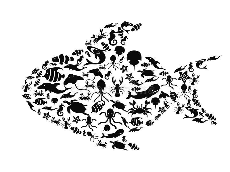 Рыбы заполненные с малой морской жизнью иллюстрация вектора