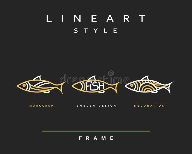 Рыбы значка Рыбы моря эмблемы для дизайна меню бесплатная иллюстрация