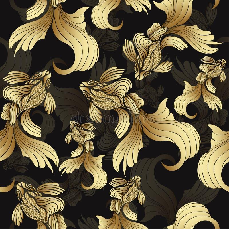 Рыбы золота, безшовная картина Декоративные абстрактные рыбы, с золотыми масштабами, завили ребра на черной предпосылке Орнамент  иллюстрация вектора