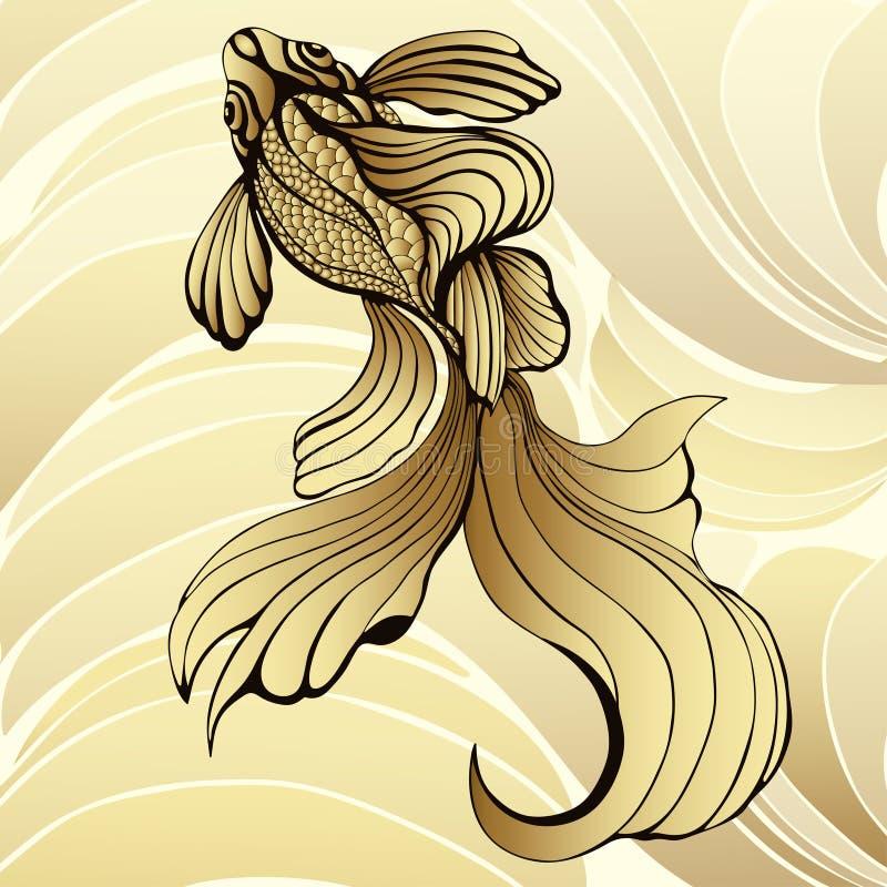 Рыбы золота, график Декоративные абстрактные рыбы, с золотыми масштабами, завили ребра на желтой предпосылке и волнах золота Orna иллюстрация вектора