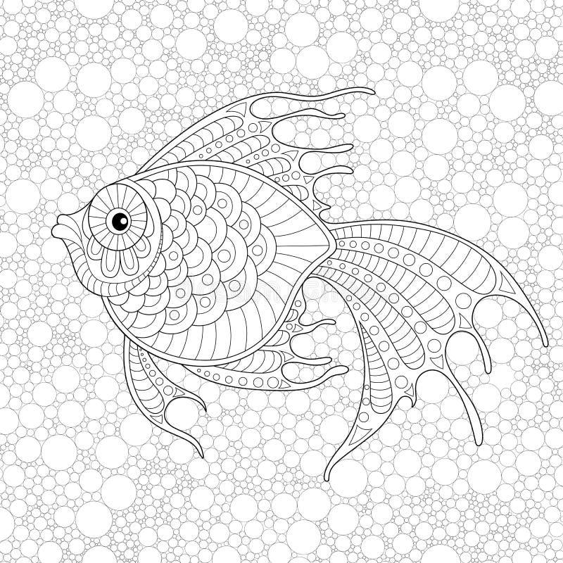 рыбы золотистые Взрослая antistress страница расцветки иллюстрация вектора
