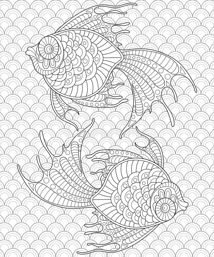 рыбы золотистые pisces Взрослая antistress страница расцветки бесплатная иллюстрация
