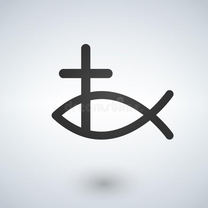 Рыбы Иисуса и значок креста также вектор иллюстрации притяжки corel бесплатная иллюстрация