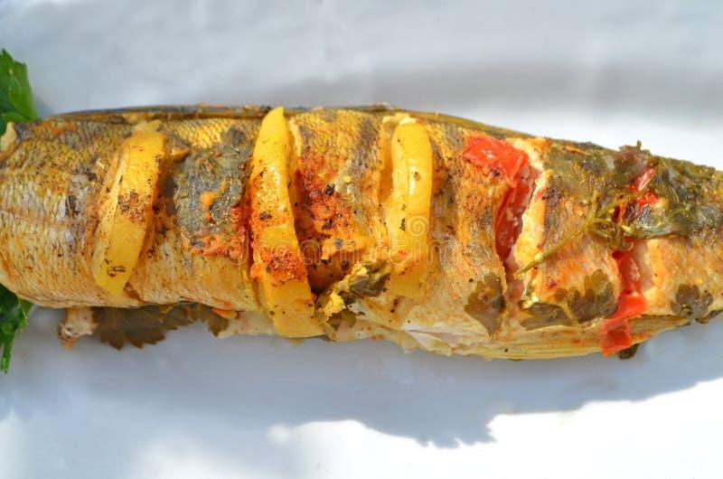 Рыбы испекли с томатами, лимоном и специями стоковая фотография rf