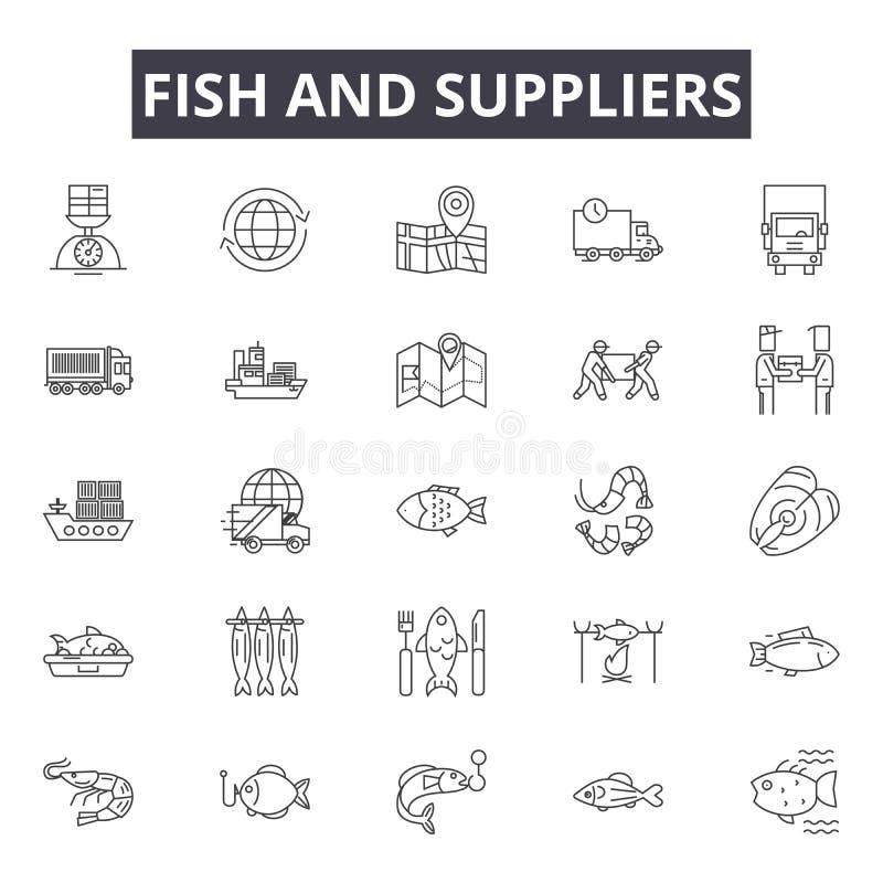 Рыбы и поставщики выравнивают значки, знаки, набор вектора, концепцию иллюстрации плана бесплатная иллюстрация