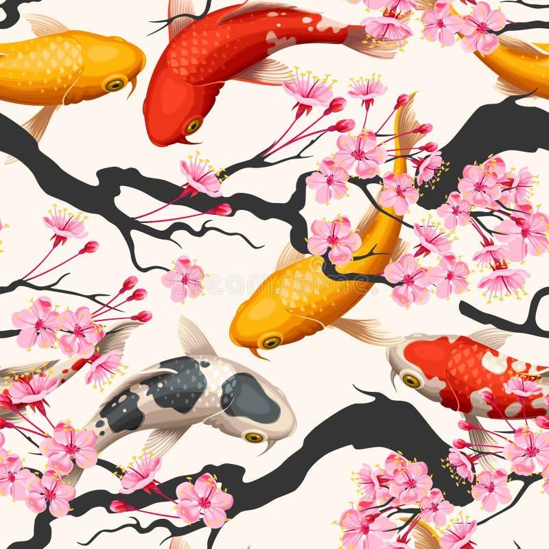 Рыбы и Сакура Koi безшовные иллюстрация вектора