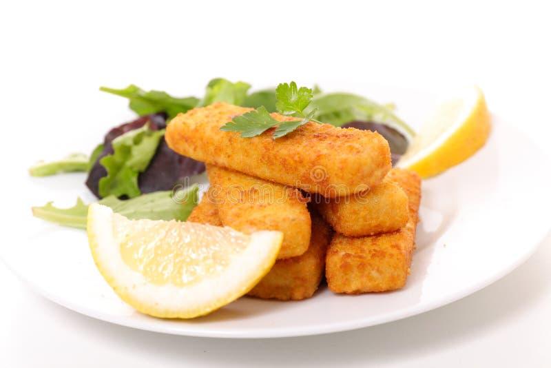 Рыбы и салат пальца стоковая фотография rf