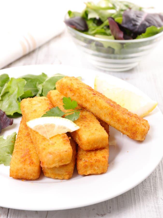Рыбы и салат пальца стоковые изображения rf