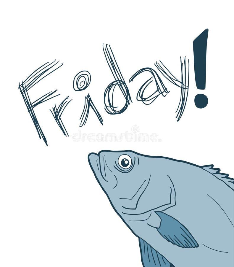 Рыбы и смешной дизайн сообщения пятницы иллюстрация штока
