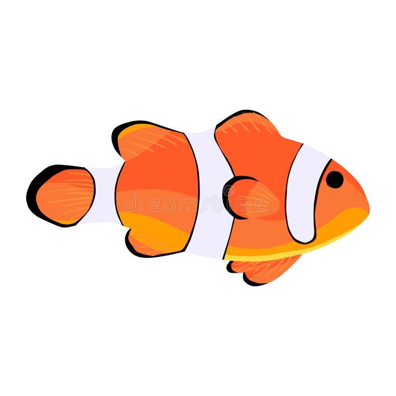 Рыбы клоуна Значок Amphiprioninae изолированный на белом фоне иллюстрация штока