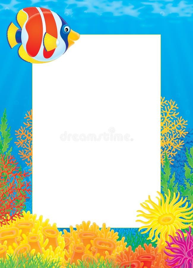 рыбы коралла обрамляют фото бесплатная иллюстрация