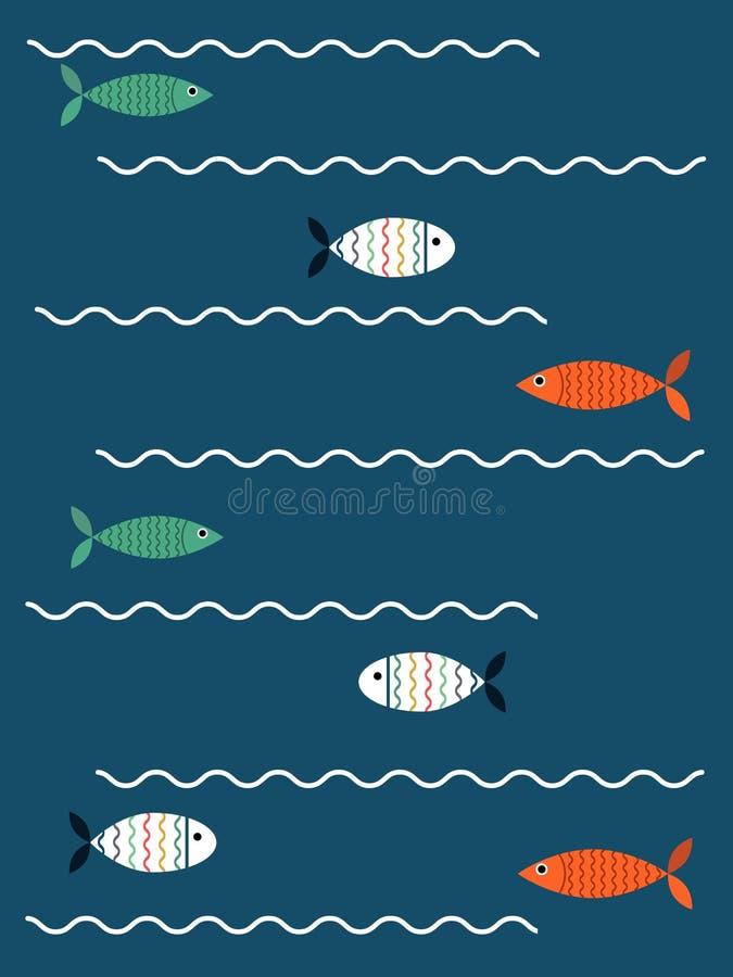 Рыбы на волнах иллюстрация штока