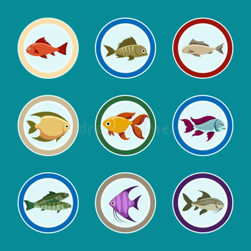 Рыбы на установленных значках плиты иллюстрация штока