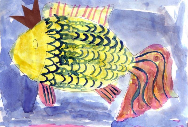 Рыбы ребенка рисуя желтые иллюстрация штока