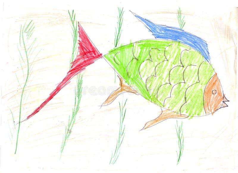 Рыбы ребенка рисуя зеленые иллюстрация штока