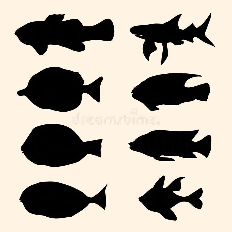 Рыбы силуэтов иллюстрация штока