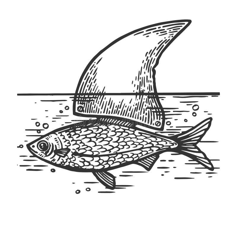 Рыбы с вектором гравировки ребра акулы бесплатная иллюстрация