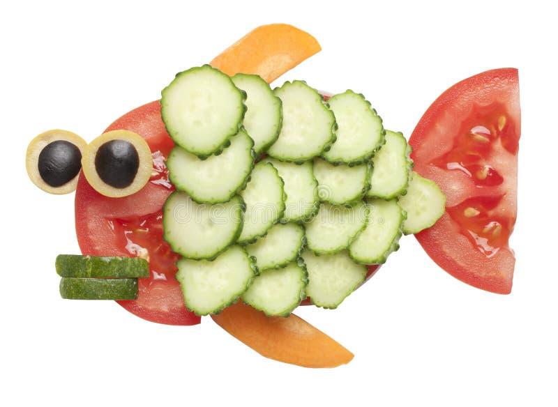 Рыбы сделанные овощей стоковое фото rf