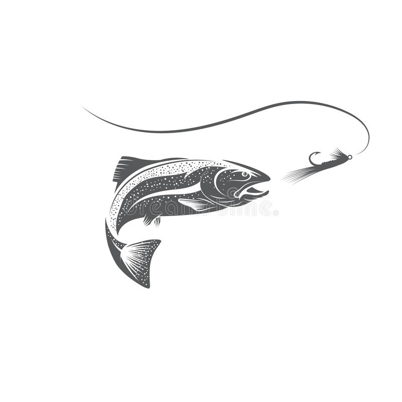 Рыбы форели и дизайн вектора прикормом иллюстрация вектора