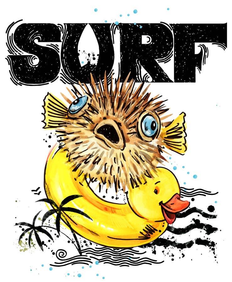 рыбы шаржа милые Текст прибоя винтажной нарисованный рукой иллюстрация акварели морского животного предпосылка летних отпусков `  иллюстрация вектора