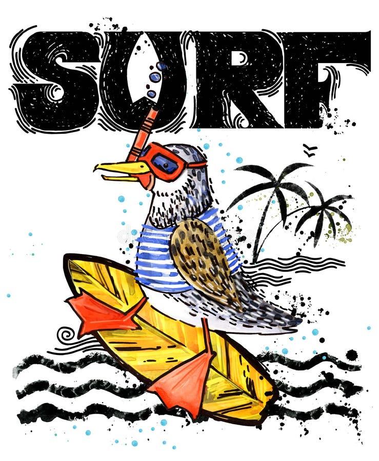 рыбы шаржа милые Текст прибоя винтажной нарисованный рукой иллюстрация акварели морского животного предпосылка летних отпусков `  иллюстрация штока