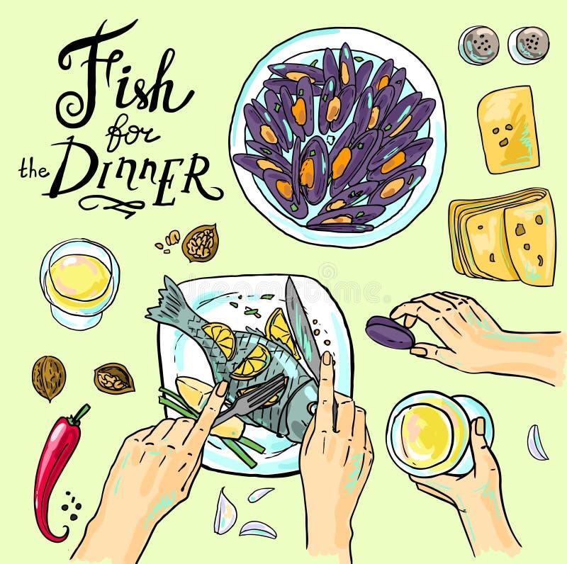 Рыбы для обедающего иллюстрация вектора
