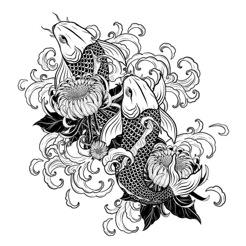 Рыбы Koi и татуировка хризантемы вручную рисуя стоковые фото