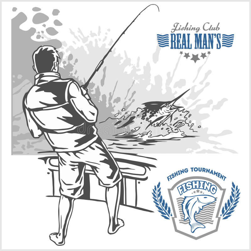Рыбы Marline в волнах на ретро предпосылке grunge - логотип творения, эмблема, удя бьет иллюстрация штока