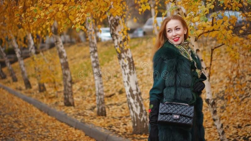 Рыжеволосая девушка в парке осени стоковое фото rf