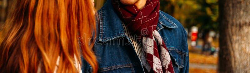 Рыжеволосая девушка и парень в куртке джинсовой ткани с checkered шарфом идут в парк осени, конец-вверх леса, коричневый шарф w стоковые фотографии rf