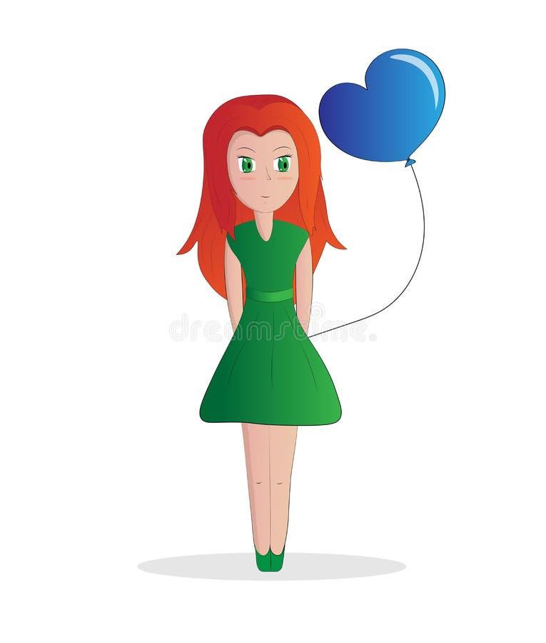 Рыжеволосая девушка и шарик иллюстрация штока