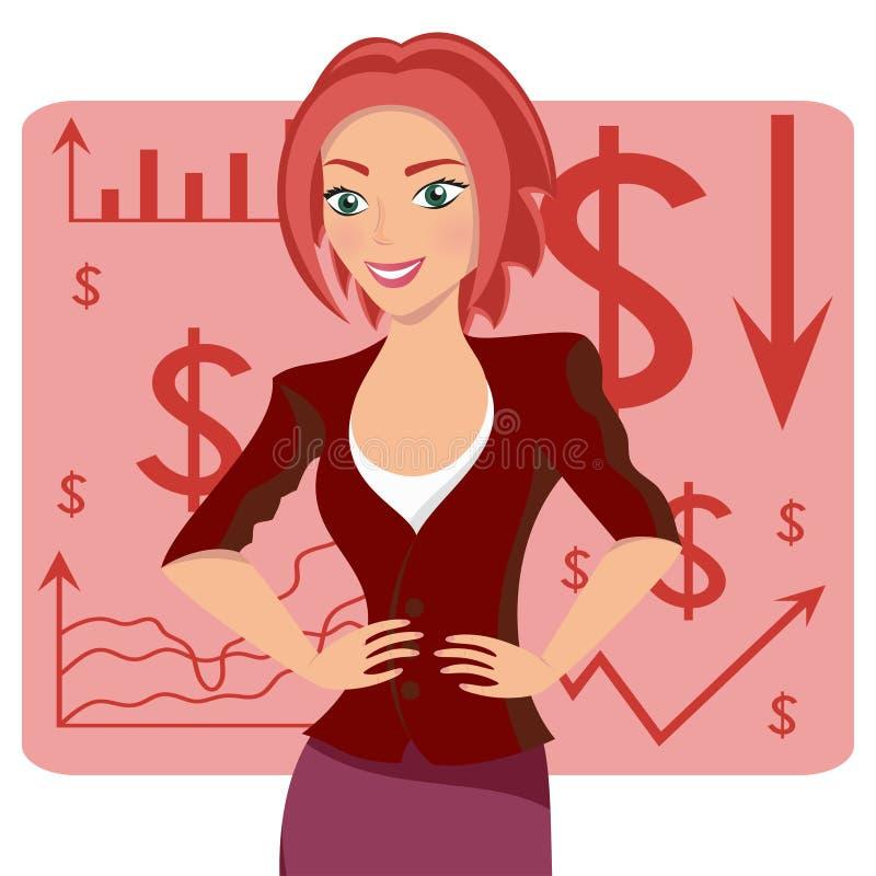 Рыжеволосая бизнес-леди, усмехаясь характер на предпосылке диаграммы, векторе бесплатная иллюстрация
