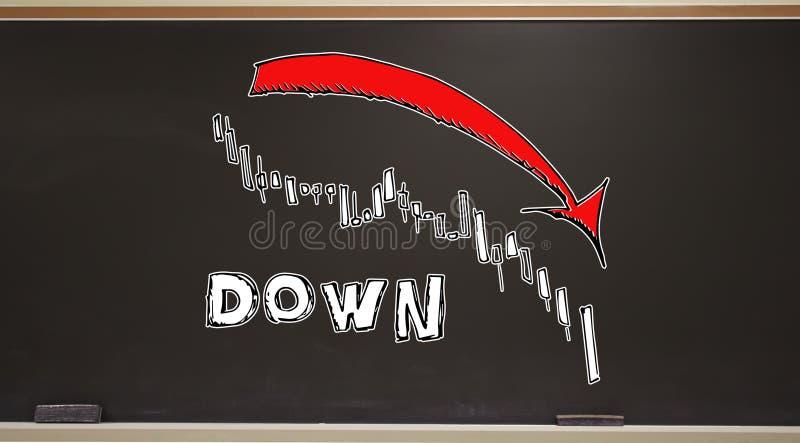 Рынок вниз с диаграммы тенденции на классн классном иллюстрация штока