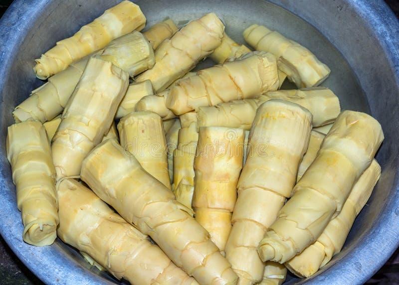 Рынок Вьетнама Дуна Hoi - свежие очищенные и отрезок бамбуковые всходы внутри стоковые фотографии rf