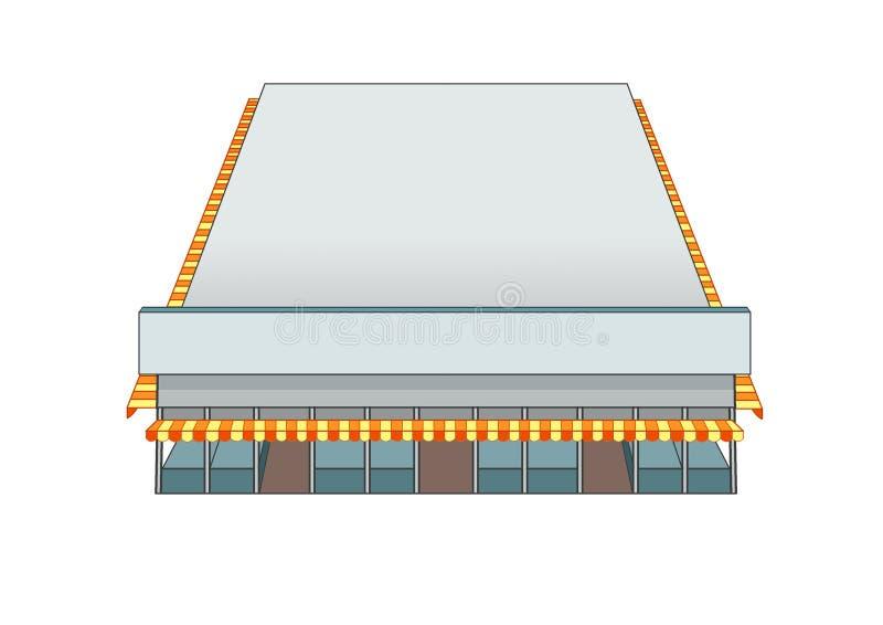 Рынок здания дизайна и цвет серого цвета иллюстрация вектора