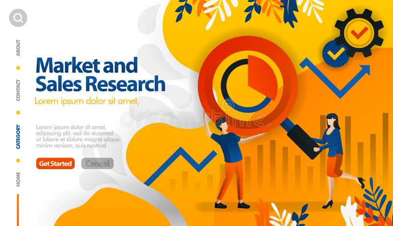 Рынок и продажи исследование, целевой маркетинг и продажи, ищут концепцию иллюстрации вектора выгоды могут быть пользой для, приз иллюстрация вектора