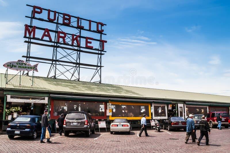 Рынок места Pike в Сиэтл, WA стоковые изображения