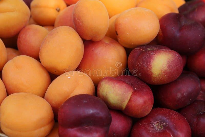 Рынок плодоовощ Продажа персиков, нектаринов стоковое фото rf