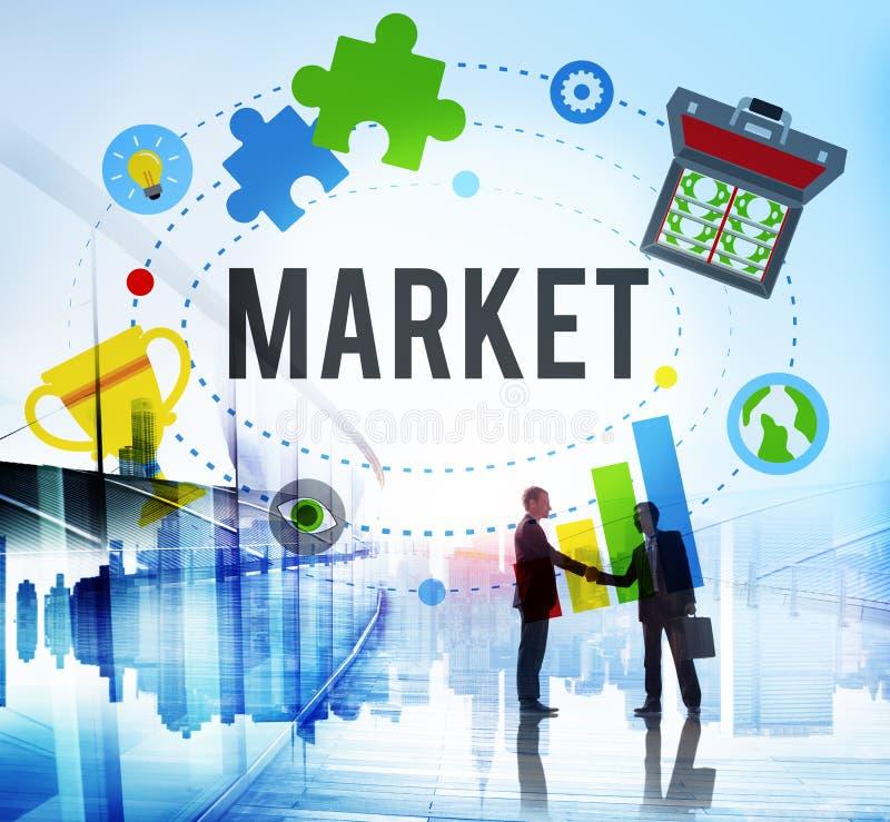Рынок планирует концепцию глобального успеха идей рекламы клеймя стоковое изображение rf