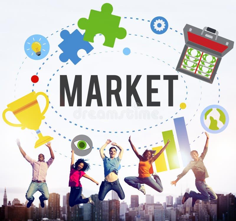 Рынок планирует концепцию глобального успеха идей рекламы клеймя стоковые фото