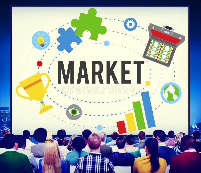 Рынок планирует концепцию Successs идей рекламы глобальную клеймя стоковые изображения