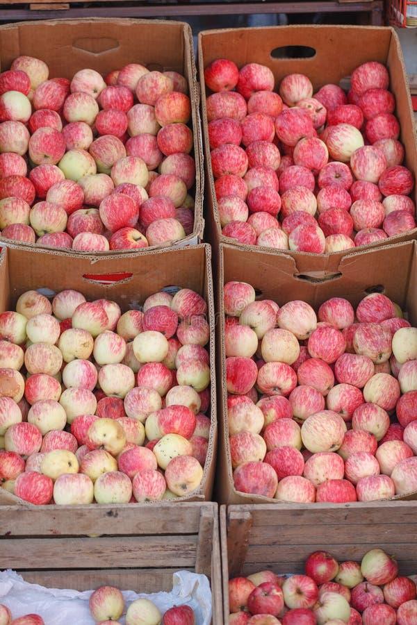 Рынок с коробками плодоовощ стоковые фото
