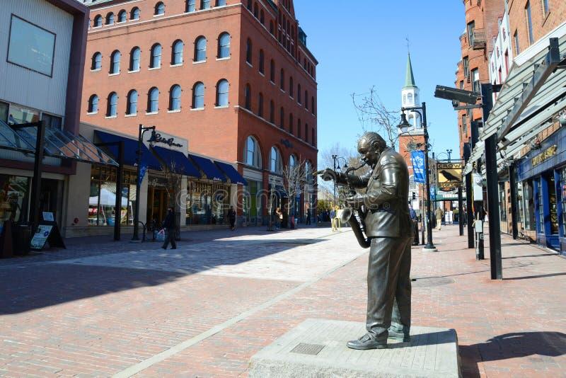 Рынок улицы церков, Burlington, Вермонт стоковые изображения rf