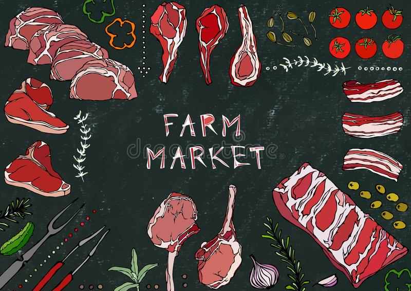 Рынок фермы Отрезки мяса - говядина, свинина, овечка, стейк, бескостный оковалок, жаркое нервюр, поясница и отбивные котлеты нерв иллюстрация штока