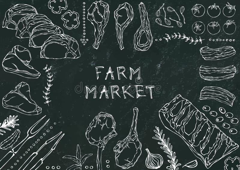 Рынок фермы Отрезки мяса - говядина, свинина, овечка, стейк, бескостный оковалок, жаркое нервюр, поясница и отбивные котлеты нерв иллюстрация вектора