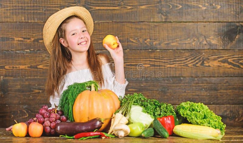 Рынок фермы ребенк девушки с ребенком сбора падения празднует сбор E r стоковое фото