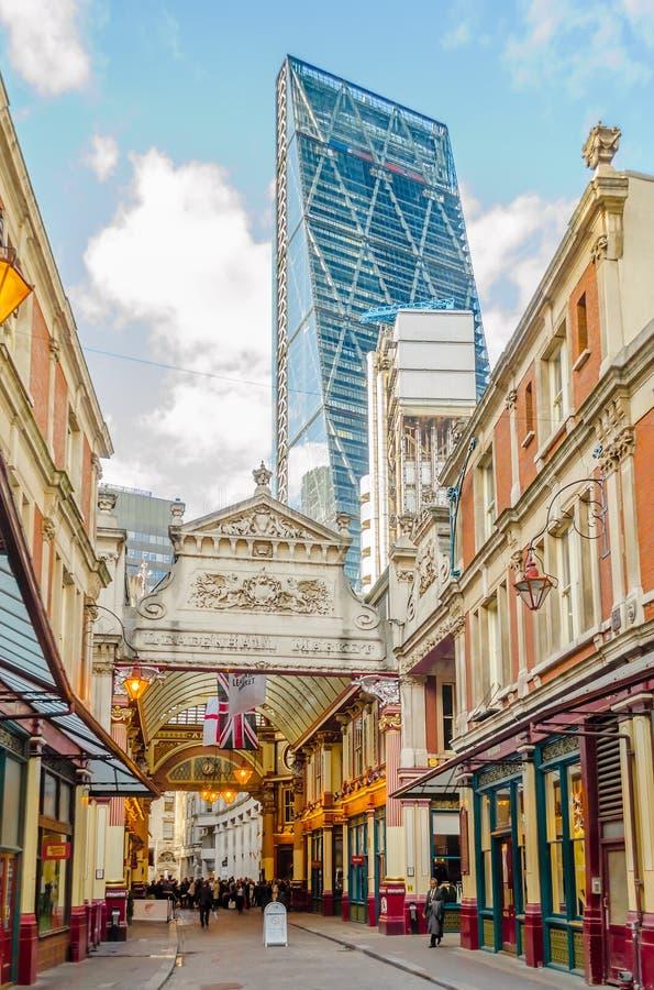 Рынок Leadenhall, традиционный крытый рынок в городе Лондона стоковое фото